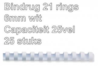 , Bindrug Fellowes 6mm 21rings A4 wit 25stuks