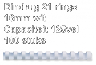 , Bindrug Fellowes 16mm 21rings A4 wit 100stuks