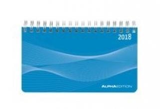 Mini-Querkalender PP-Einband blau 2018 - Tischkalender