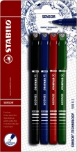, Fineliner STABILO Sensor blister à 4 kleuren