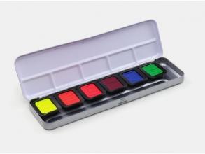 , Verftablet 30x22mm Neon Aquarellcolors, 6 stuks in blik,    Finetec