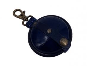 , sleutelhanger Mika klein zadelleer opbergvak voor munten.   blauw