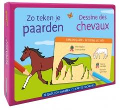 ZNU , Zo teken je paarden - 12 sjabloonkaarten Dessine des chevaux – 12 cartes pochoirs