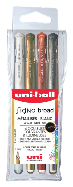 ,Gelschrijver Uni-ball Signo Broad metallic etui à 4 kleuren