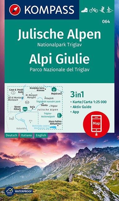 KOMPASS-Karten GmbH,KOMPASS Wanderkarte Julische Alpen, Nationalpark Triglav, Alpi Giulie 1:25 000