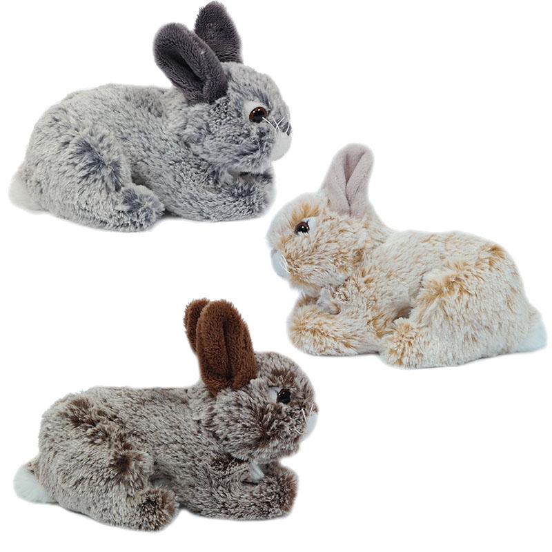,Knuffel pluche konijn liggend ass 18 cm