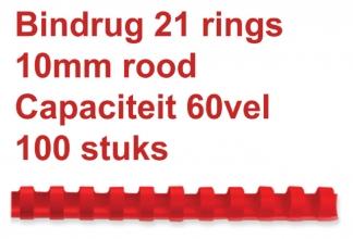 , Bindrug Fellowes 10mm 21rings A4 rood 100stuks