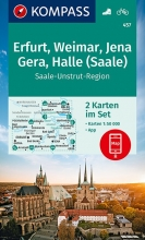Kompass-Karten Gmbh , KOMPASS Wanderkarte Erfurt, Weimar, Jena, Gera, Halle (Saale) 1:50 000