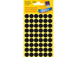 , Etiket Avery Zweckform 3140 rond 12mm zwart 270stuks