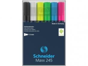 , Marker Schneider Maxx 245 6st.  in etui. Zwart, wit, geel,  groen, blauw, rood