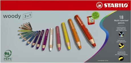, Kleurpotloden STABILO Woody 880/18 set à 18 kleuren met puntenslijper