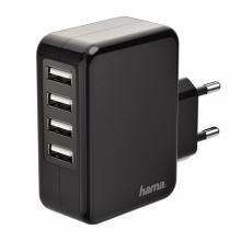 , Oplader Hama USB-A 4X 4.8A zwart