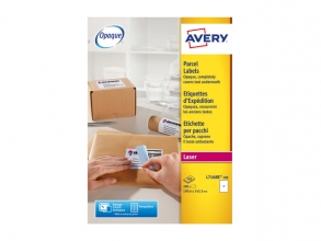 , Verzendetiket Avery Block-out, 199,6x143,5mm wit doos 100   vel, 2 etiketten per vel