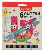 , Viltstift Bruynzeel Kids glitter blister à 6 stuks assorti