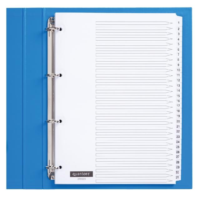 ,Tabbladen Quantore 4-gaats 1-31 genummerd wit karton