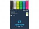 ,Marker Schneider Maxx 245 6st.  in etui. Zwart, wit, geel,  groen, blauw, rood