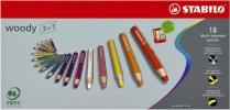,Kleurpotloden STABILO Woody 880/18 blik à 18 kleuren met puntenslijper