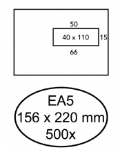 , Envelop Quantore 156x220mm venster 4x11cm rechts zelfkl 500s