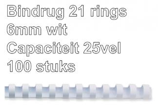 , Bindrug Fellowes 6mm 21rings A4 wit 100stuks