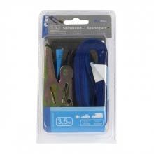 , Spanband ProPlus blauw met ratel en 2 haken 3,5m
