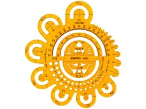 , Afrondingssjabloon Aristo     0.5-40 mm, oranje-transparent