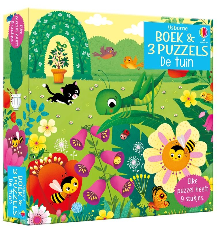 ,Boek & 3 Puzzels De tuin