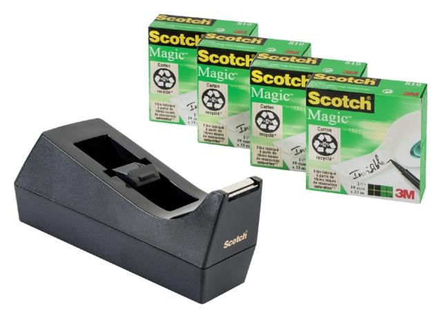 ,Plakbandhouder Scotch C38 zwart + 4rol magic tape 19mmx33m