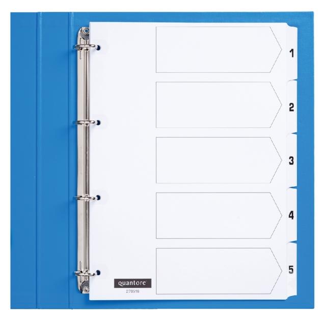 ,Tabbladen Quantore 4-gaats 1-5 genummerd wit karton