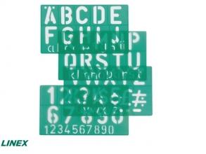 , Lettersjabloon Linex 50mm hoofdletters/letters/cijfers