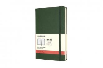 , Moleskine 12 MND Agenda - 2021 - Dagelijks - Large (13x21 cm) - Myrtle Groen - Harde Kaft