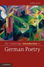 Ryan, Judith Cambridge Introduction to German Poetry