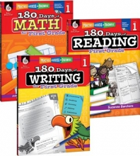 Teacher Created Materials 180 Days of Reading, Writing, and Math for First Grade 3-Book Set