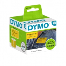 , Etiket Dymo 2133400 labelwriter 54x101mm badgelabel zwart/geel 220stuks