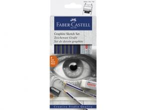 , Potloden Faber Castell 6 hardheden inclusief puntenslijper en gum