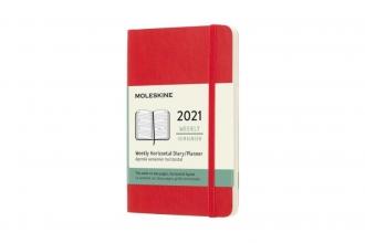 , Moleskine 12 MND Agenda - 2021 - Wekelijks Horiz. - Pocket (9x14 cm) - Scarlet Rood - Zachte Kaft