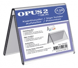 , Tafelnaambord OPUS 2 V-standaard 70mmx100mm acryl
