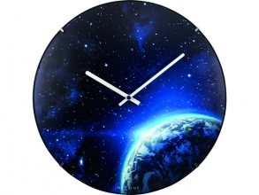 , Wandklok NeXtime dia. 35 cm, bol glas, `Globe dome`