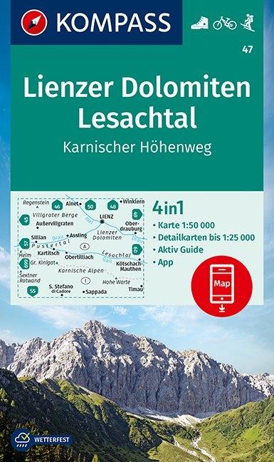 KOMPASS-Karten GmbH,KOMPASS Wanderkarte Lienzer Dolomiten, Lesachtal, Karnischer Höhenweg 1:50 000
