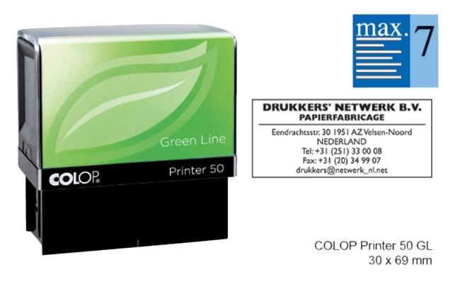 ,Tekststempel Colop 50 green line+bon 7regels 69x30mm
