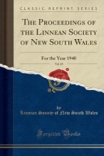 Wales, Linnean Society Of New South Wales, L: Proceedings of the Linnean Society of New South Wa