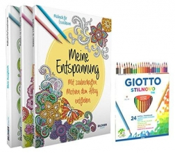 Mein Kreativset: 3 liebevoll gestaltete Malbücher mit 24 hochwertigen Farbstiften
