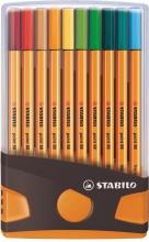 , Fineliner STABILO point 88 ColorParade antraciet/oranje etui à 20 kleuren
