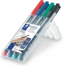 , Viltstift Staedtler Lumocolor 318 permanent F set à 4 stuks assorti