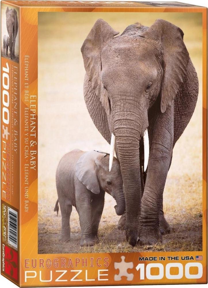 Eur-6000-0270,Puzzel elephant & baby- eurographics - 1000 stuks 48cm x 68 cm