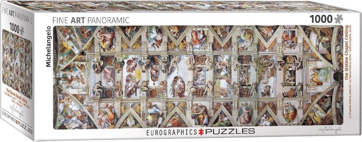 Eur-6010-0960,Puzzel the sistine chapel ceiling michelangelo panorama 1000 stuks