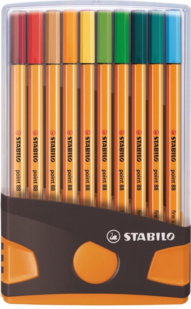 ,Fineliner STABILO point 88 ColorParade antraciet/oranje etui à 20 kleuren