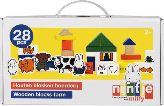 Bat-33409,Nijntje - boerderij - houten blokken - 28 pcs - bambolino