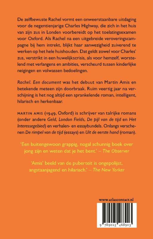 Martin Amis,Rachel, een document