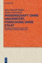 Müller, Hans-Harald Wissenschaft ohne Universität, Forschung ohne Staat