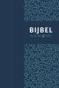 ,Bijbel (HSV) met psalmen - blauw leer met zilversnee en duimgrepen